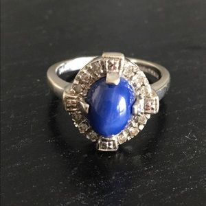 14K Diamond Engagement Oval Blue Tiger Ring